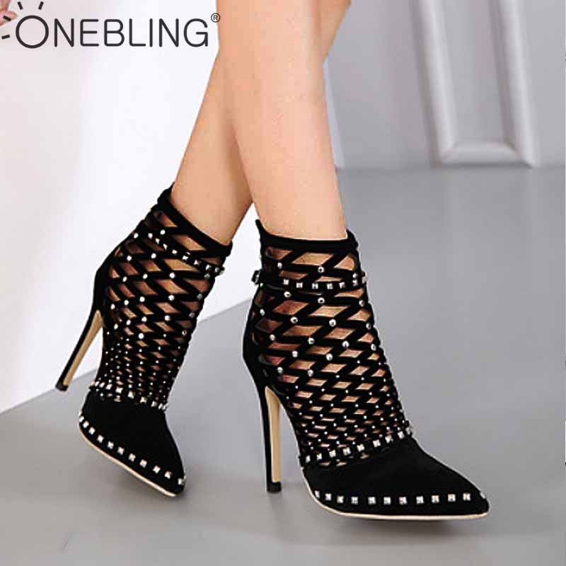 OneBling Gladiator Sandals Sexy Hollow High Heels Pointed Toe Shoes 2019 Summer Flock Rivets Stiletto Zipper