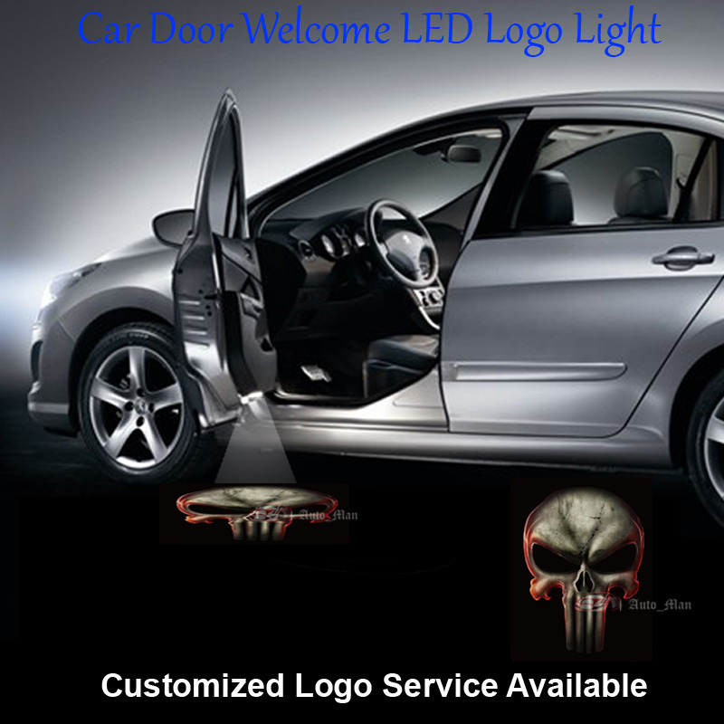 2x 3D Punisher Logo Wired and Drill Car Automobiles Door Welcome Courtesy Laser Projection Ghost Shadow Puddle LED Light C004 car door step courtesy welcome light projector laser logo light ghost shadow puddle emblem spotlight drop for hello kitty