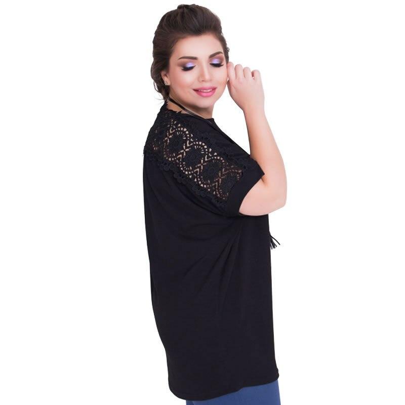 e5d0dad2cd4 US $6.45  2018 Plus Size L 6XL Fat MM Women Fashion Office Uniforms Ladies  Short Casual Solid Party O Neck Lace Tees 3 Colours JTZBT1110-in T-Shirts  ...