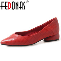 FEDONAS 2019 Genuine Leather Women Shoes High Heels Pointed Toe Med Heels Office Pumps New Women's Fashion Shoes Sexy Pumps