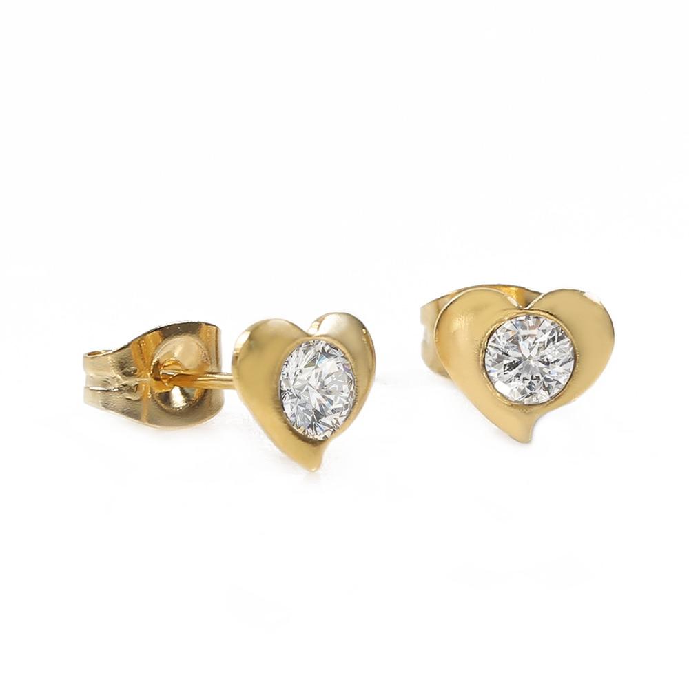 TL White Zircon Heart Shaped Earrings for Women Stainless Steel Gold Earrings Simple Design Jewelry Wedding Earrings For Female