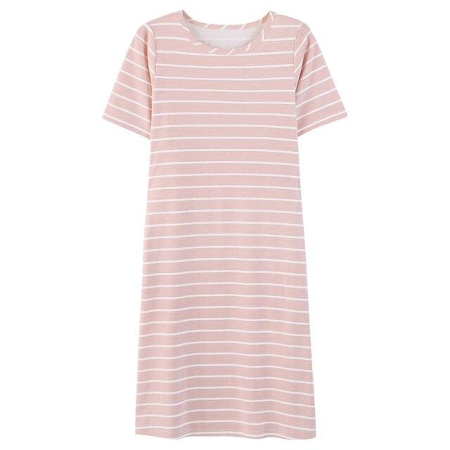 1c05c278e3 100% Cotton Soft Comfy Sleepwear Pockets Pink Striped Short Sleeve Basic  T-Shirt Homewear Spring Summer Nightgown Loungewear