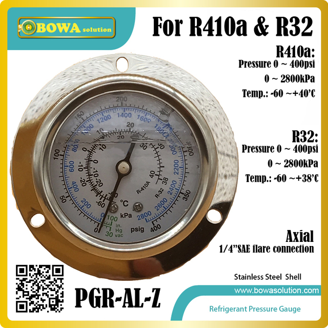 US $12 0 |Only R410a and R32 refrigerant stainless steel pressure gauge  with axial front flange and PSI analog for air source heat pump-in Heat  Pump