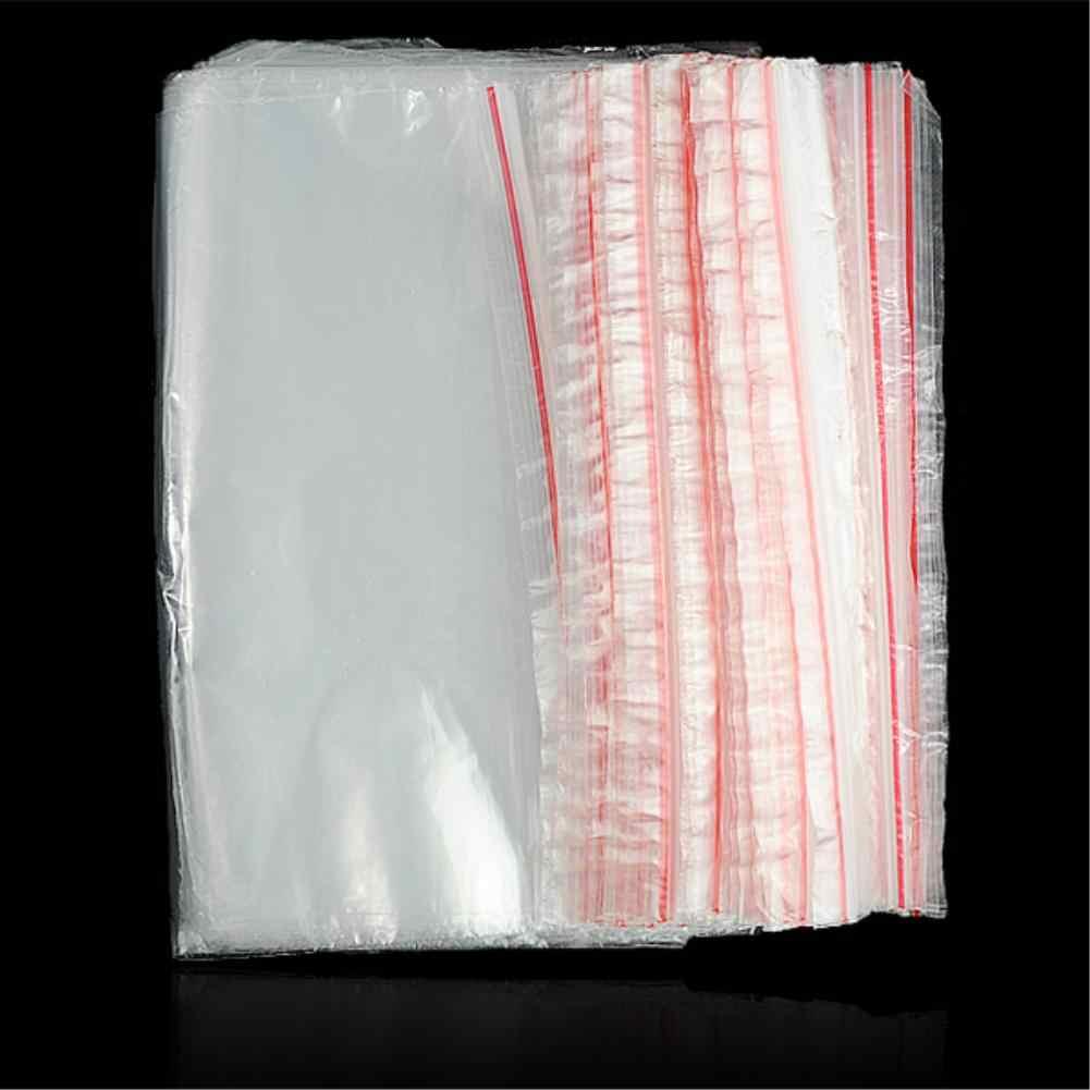 100PCS ถุงพลาสติกเครื่องประดับ Ziplock ซิปล็อคซิป Reclosable Poly ใสบรรจุภัณฑ์กระเป๋าที่แตกต่างกันขนาด