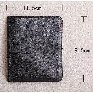 Image 5 - AETOO cartera corta de piel de vaca de primera capa para hombre, billetera juvenil de piel de vaca, hecha a mano, sencilla y suave, mini billetera vertical