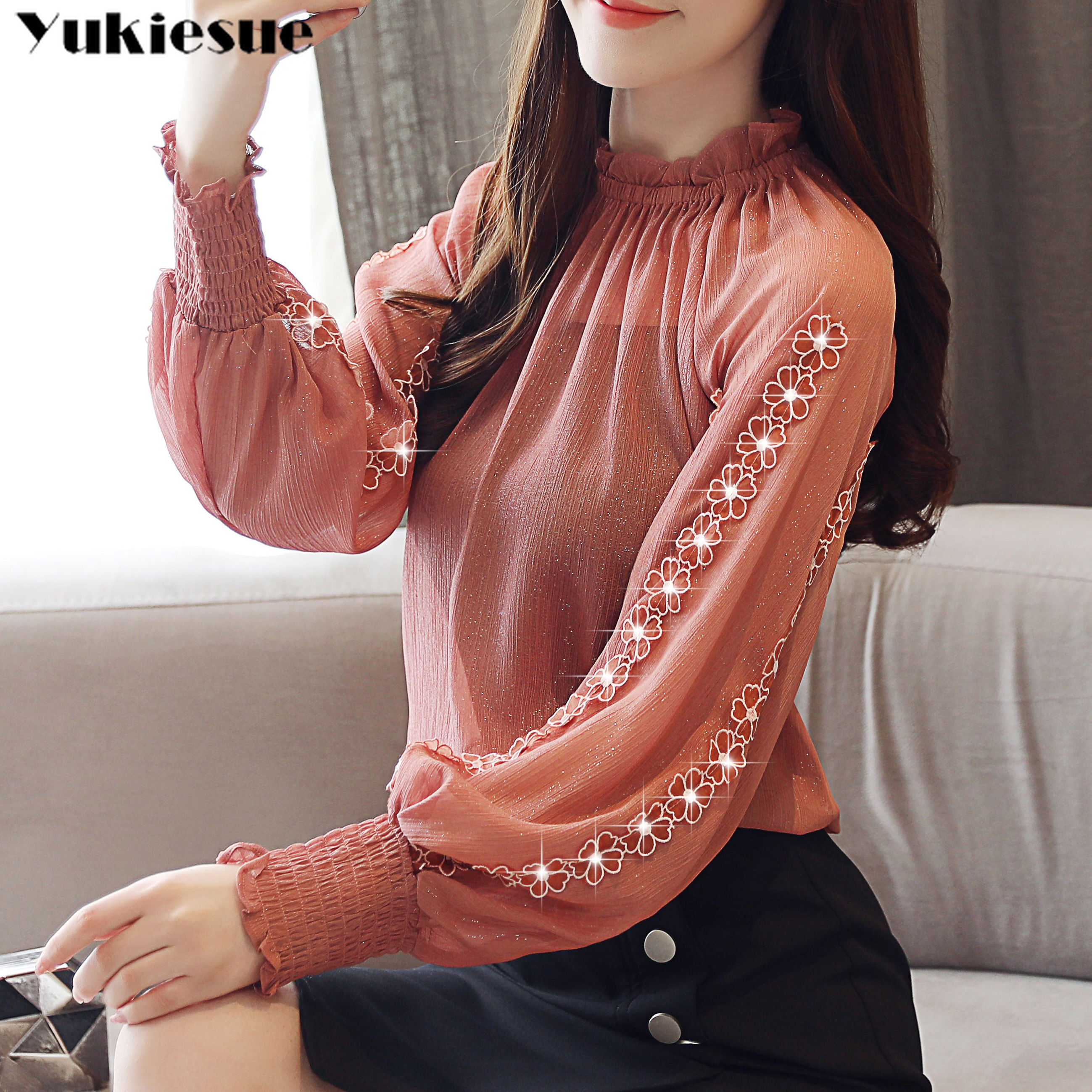 Floral Chiffon Blouse Shirt Femme Women Shirts Blusas 2019 Summer Long Sleeve Office Camisas Mujer Womens Blouses And Tops