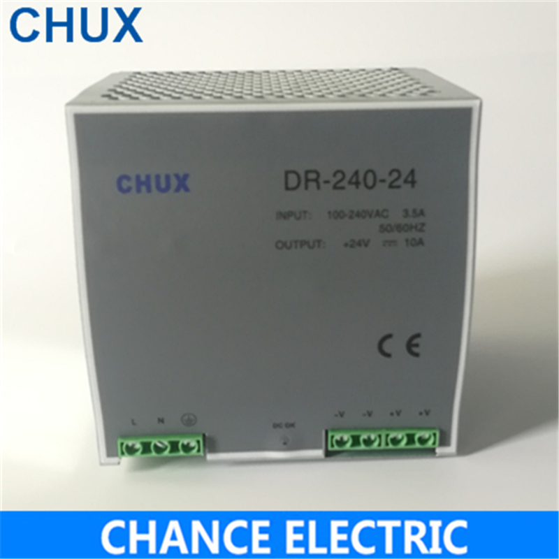 Din Rail Power Supply 24V 10A Ac Dc Converter DR-240-24 SMPS Din Rail Switching Power Supply 240W for cnc cctv led light