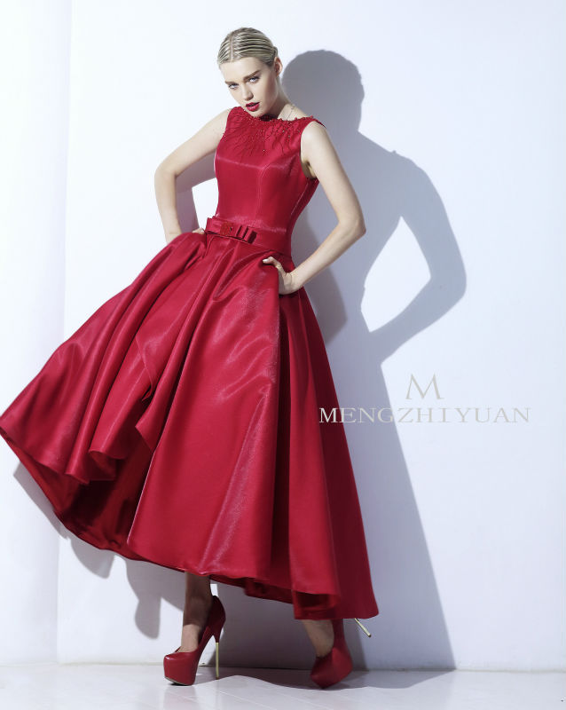 eb8d56b7c1ac Oumeiya Real Pictures ORE204 Vintage 50S 60S Tea Length Wine Red Satin Sexy  Bare Back Evening Dress 2015