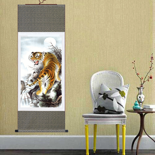 High Quality Large Wall Picture Lifelike Tiger Chinese Painting Silk ...