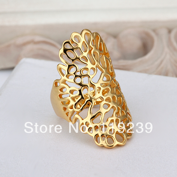 LR528 New Yellow Gold Color Retro Vintage Full Finger Rings Big
