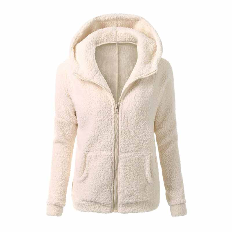 Women Long Sleeve Jacket Warm Winter Coat Tops Fluffy Oversize Hoodies Cardigan Overcoat Girls Loose Casual Outwear