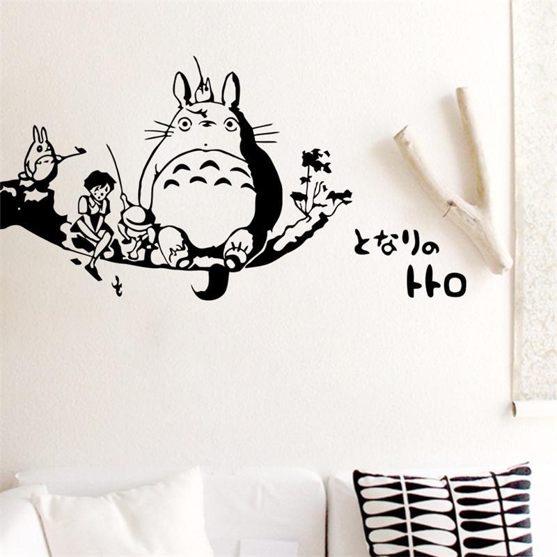 Girls Wallpaper Decals With Eiffel Tower Popular Japan Cartoon My Neighbor Totoro Home Decor Wall