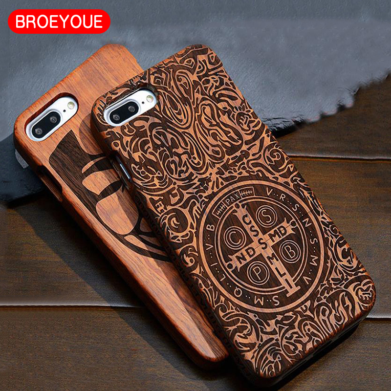 BROEYOUE Phone Case For Apple <font><b>iPhone</b></font> 7 6 6s 5 5S SE 6S 7 Plus 100% Natural Wooden Bamboo Carving Design Wood Luxury Coque Cases