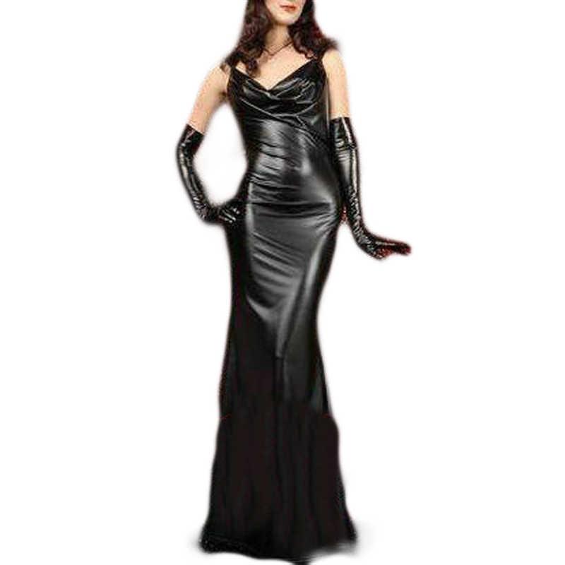 Yuqung женское платье с перчаткой из искусственной кожи спандекс Макси платье Вечеринка без спины длиной до пола облегающее длинное платье для выпускного вечера