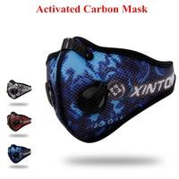 Mode PM2.5 Poussière Maille Tissu Masque Vélo Respirateur Charbon Actif Respirant Filtre de Course En Plein Air Protection Visage Masque