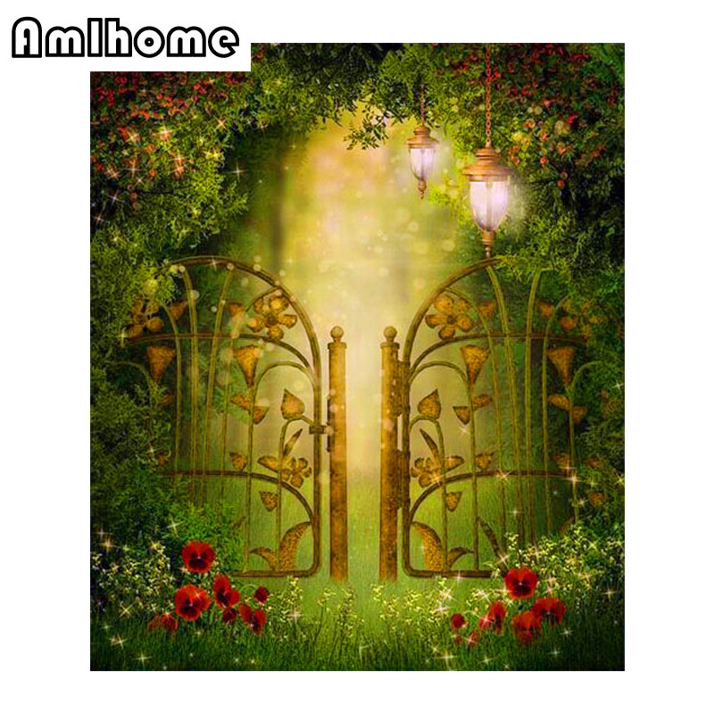 AMLHOME Garden Iron Gates Square Diamond Embroidery Crafts Needlework Diy Diamond Painting Cross Stitch Kit Full mosaic Sets