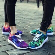 купить 2019 Summer Fashion Print Women Sneakers  Breathable Air Mesh Lace Up Casual Tenis Shoes Ladies Soft Flat Walking Shoes по цене 1441.4 рублей