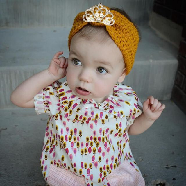 6 Color Toddle Infant Crystal Crown Turban Children Baby Ear Warmer Head  Wrap Crochet Knitted Elastic cdffe0e3908