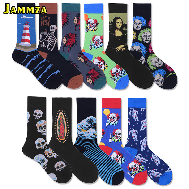 Men Large Size Cotton Long Socks Funny Bone Fashion Hiphop Europe Style Painting Graffiti Street hyperbole Harajuku Art