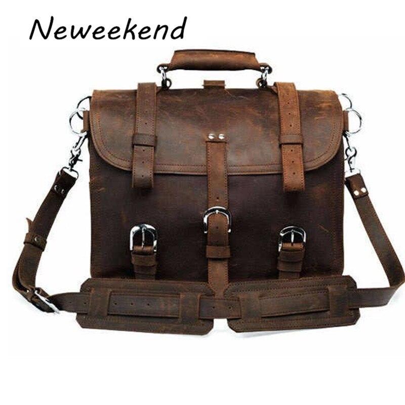 Neweekend Ретро Модный Топ Корова Пояса из натуральной кожи Crazy Horse Многофункциональный 16 дюймов рюкзак Чемодан дорожная сумка 5048