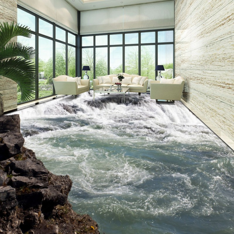 Free Shipping Grass Waterfalls flowing water generate river 3D floor moisture-proof bathroom bedroom flooring wallpaper mural free shipping flowing water making money streams falls river 3d floor painting bedroom living room bathroom wallpaper mural