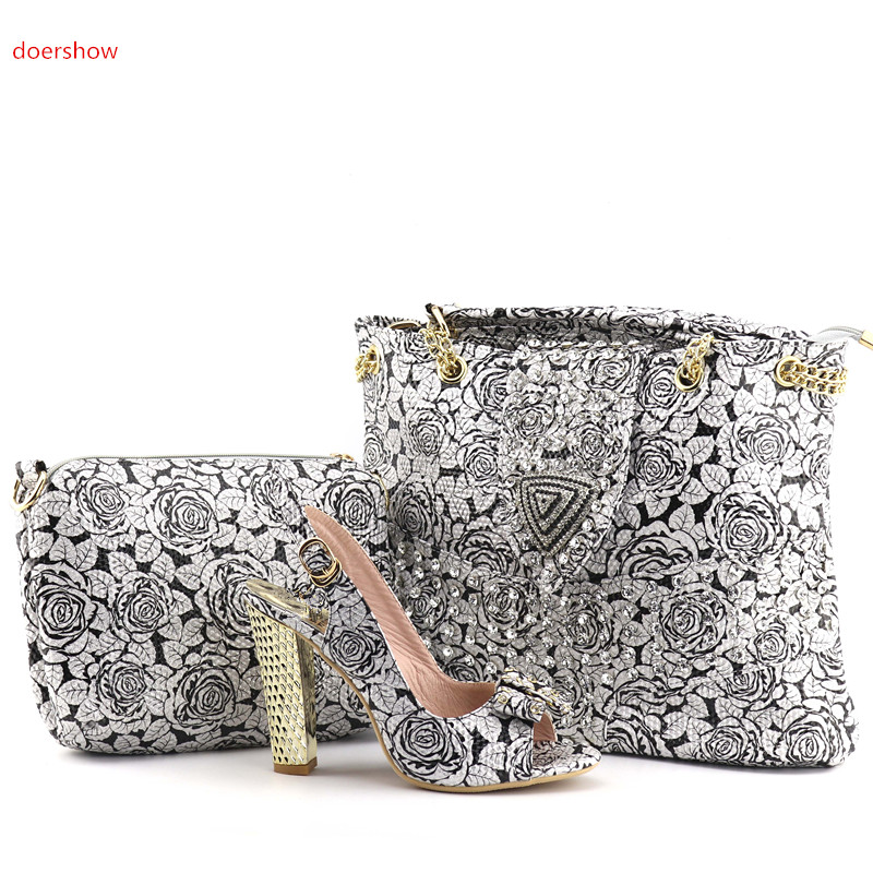 doershow Nigerian Party Shoe and Bag Sets Decorated with Rhinestone African Matching Shoes and Bags Italian for Women QV1-4 new fashion green color decorated with diamonds african shoes and bag set for party in women italian matching shoe and bag sets
