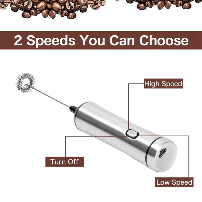 Usb Chargeable Double Spring Whisk Head Electric Milk Frother Stainless Steel Handheld Milk Foamer Drink Mixer Two Speeds