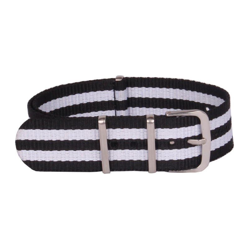 Hot New Ladies Women Nato 18 mm Army Black White Nylon Military Fabric Woven Watch watchband Strap Band Buckle belt 18mm