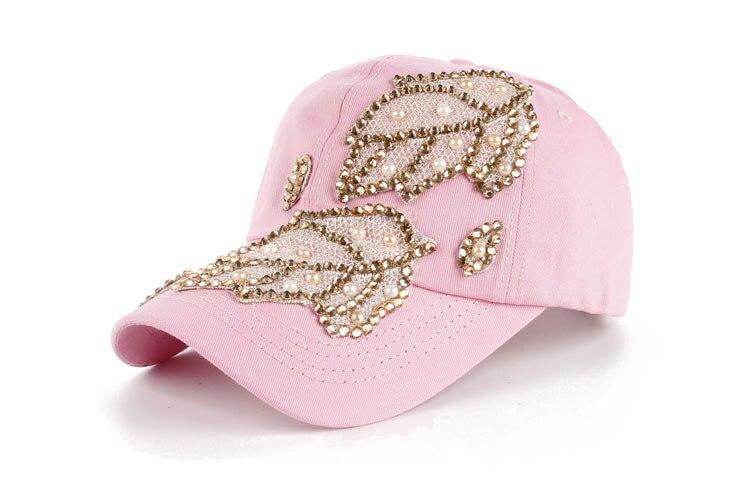 Высокое качество оптом и в розницу JoyMay шляпа Кепки Мода Досуг Стразы х/б джинсы лист Кепки S летние Бейсбол Кепки B235 - Цвет: Pink