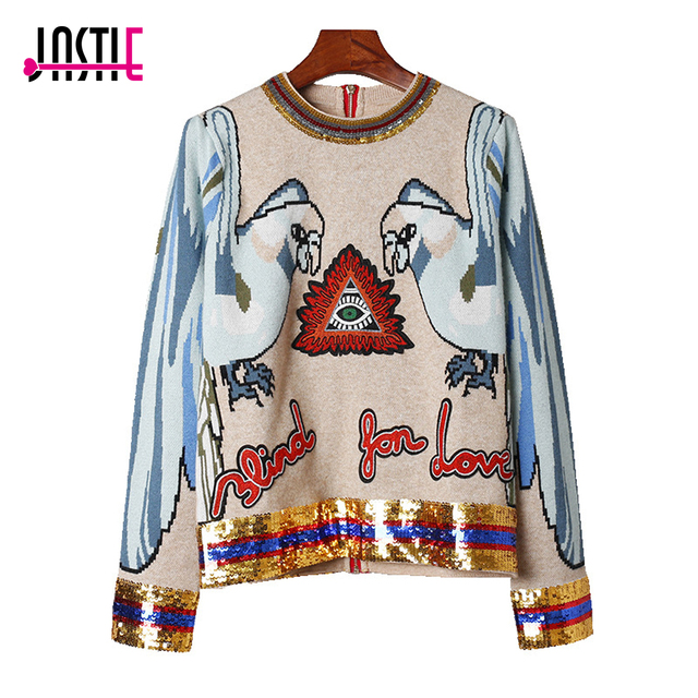 Jastie 2018 Spring Autumn Knitted Sweater Parrot Embroidered Long Sleeve O-Neck Pullovers Back Zipper Chic Casual Women Sweaters