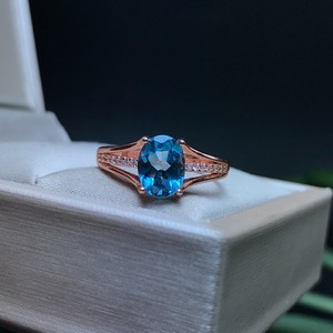 Image 5 - [MeiBaPJ]Classic Big Natural London Blue Topaz Gemstone Ring for Women Real 925 Sterling Silver Fine Jewelry