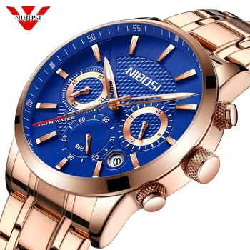 NIBOSI Men's Quartz Watch Men Chronograph Waterproof 30m Date Display Clock Analog Rose Blue Sport Wristwatch Relogio Masculino