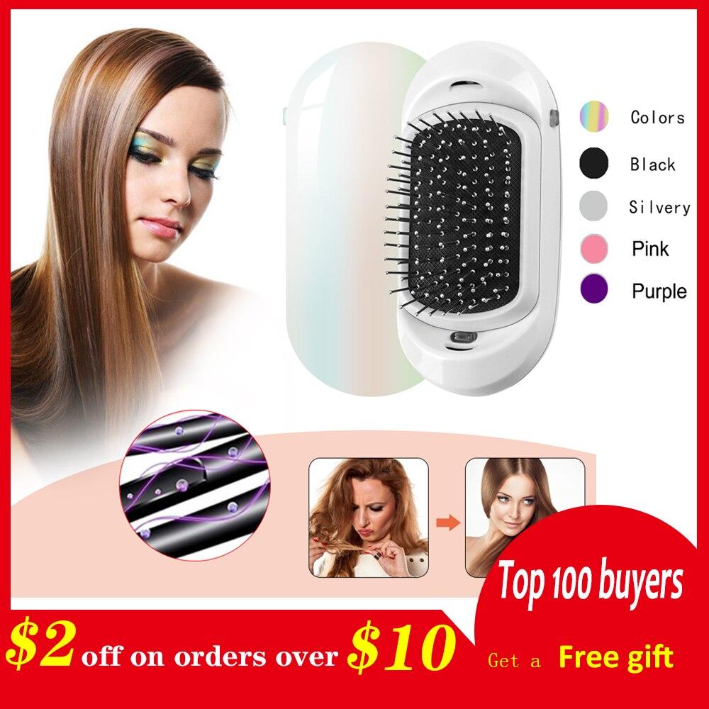 Ionic Elektrische Haarbürste, 2,0 Tragbare Elektrische Ionic Haarbürste Doppel Negativen Ionen Haar Pinsel Haar Styling Kopfhaut Massage Kamm