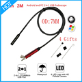 720P HD 2M Cable IP67 Waterproof 7mm Micro Usb Android OTG PC Endoscope Camera Inspection Borescope Snake Tube Pipe IP Camera