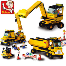 Sluban Model building kits compatible with lego city Heavy engineering team 919 3D blocks Educational toys hobbies for children
