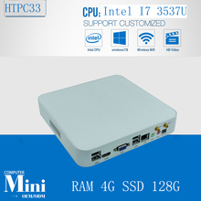 3 Years Warranty High-grade Mini PC Small Desktop Intel Core i7 3537U 4GB Ram 128GB SSD  1080P HDMI+VGA