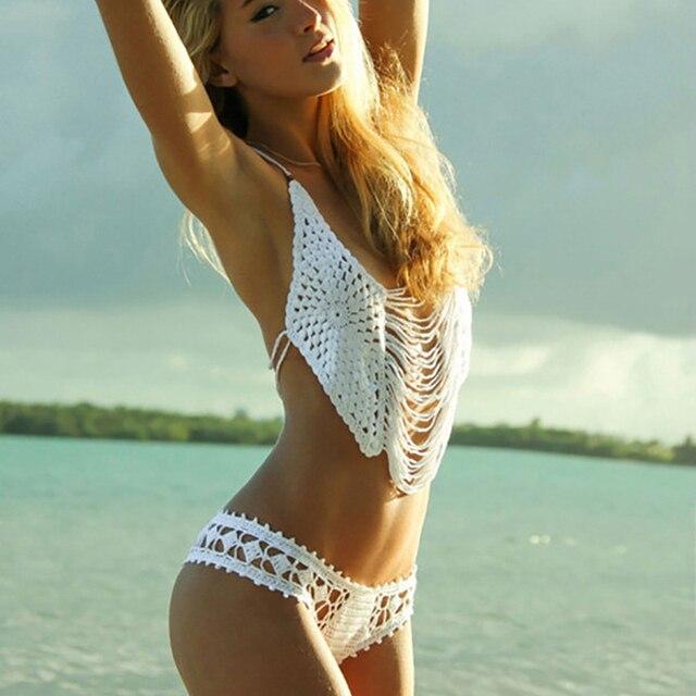 2016 Top Sexy Крючком бикини установить Белый Черный 100% хлопок пляж купальники женский купальник женщин трикотажные микро купальный костюм девушка