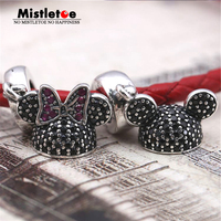 Original Mickey Minnie Hat Dangle Charms CZ Beads Fit Pandora Bracelets 925 Sterling Silver Cartoon Charm