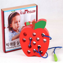 Free shipping children enlightenment training game early worm apple/development educational threading wooden toys for