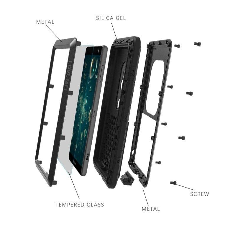 Étui pour Sony Xperia XZ2 étui de téléphone portable à trois épreuve étui de protection XZ2Compact boîtier étanche en métal