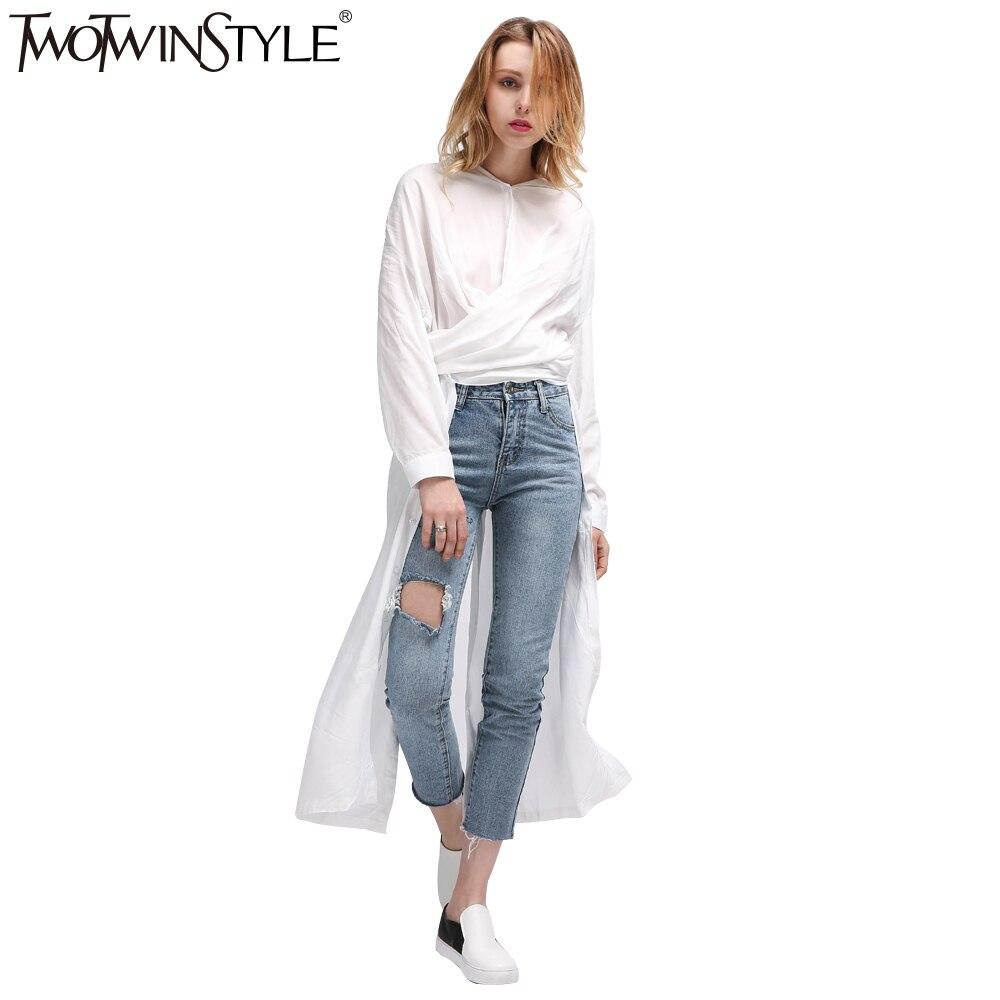 244fc2ad6d888e TWOTWINSTYLE dorywczo letnia sukienka midi koszula damska suknie kobiet Top  z długim rękawem bluzka biały czarny nowości koreański duże rozmiary