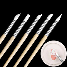 5pcs Nail Art Silicone Head Brush Hollow Carving Engraving Embossed Modeling Pen Rubber Pencil
