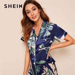 Image 5 - SHEIN Tropical Print Satin Pajamas for Women Casual Short Sleeve Pocket Sleepwear Summer Long Pants Lingerie Ladies Pajama set