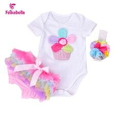 Nuevo verano del bebé ropa de algodón flor del arco iris mamelucos cortos de la manga y Bloomers de la colmena recién nacido infantil de las muchachas arropa sistemas