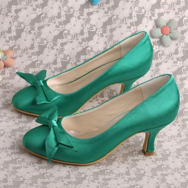 ФОТО Wedopus MW666 New Arrival Bow Pumps Green Bridesmaid Shoes Medium Heel Dropship