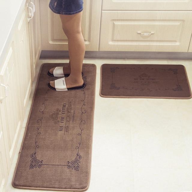kitchen floor mats wrought iron pendant lights european retro fashion super soft water absorbent and antiskid rug bathroom doormat 2pcs set