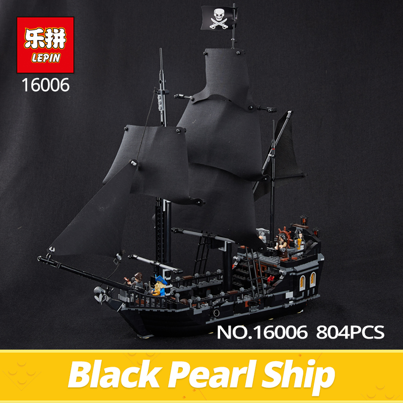 Lepin Building Bricks 16006 804pcs Pirates series The Black Pearl model Building Blocks set 4184 Classic Caribbean ship Toys lepin 22001 pirates series the imperial flagship model building blocks set pirate ship lepins toys for children clone 10210