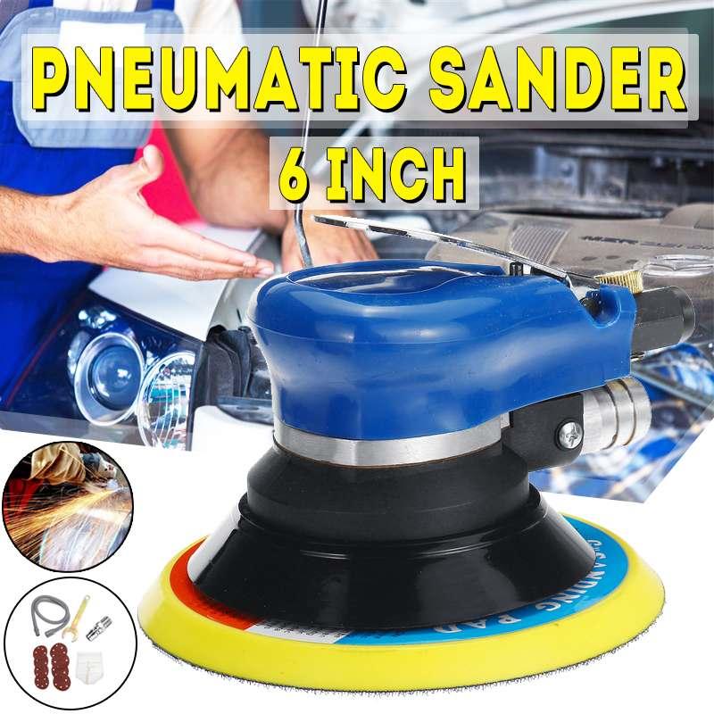6 Inch Pneumatic Palms Random Orbital Sander Polisher Air Powered Orbit Polisher Dual Action Polishing Grinding Sanding Tool Set