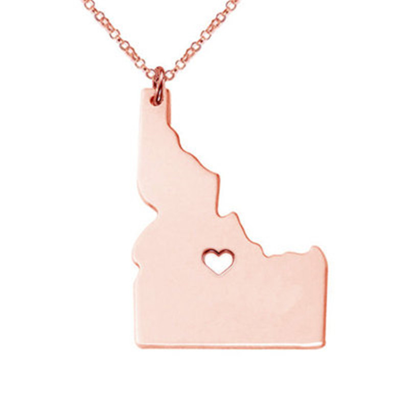 American Idaho Stainless Steel Necklace Personality United States Map Pendant Necklace Trend New