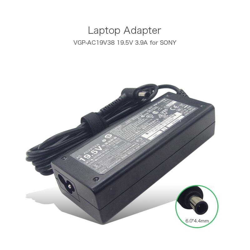 100% Original 19.5V 3.9A 6.0*4.4mm VGP-AC19V38 VGP-AC19V37 Power Adapter for Sony